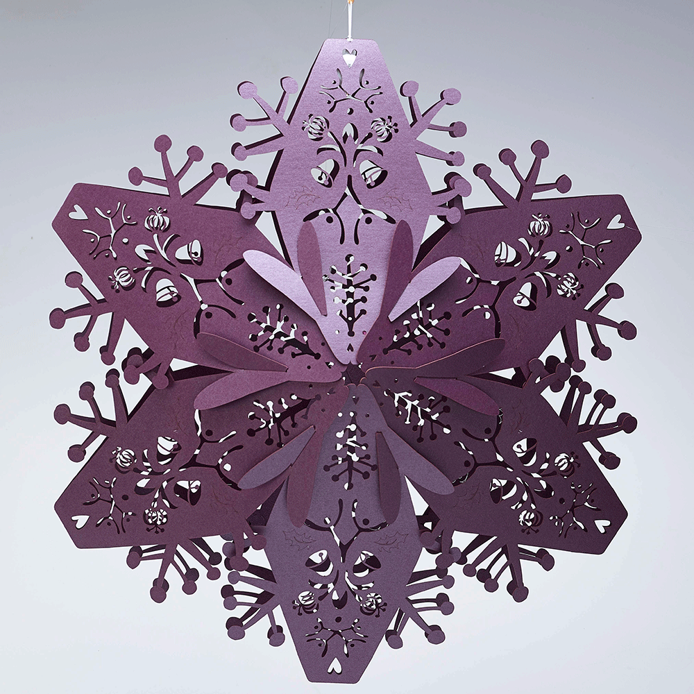 Large ruby purple 3d hanging snowflakes for 3d hanging snowflake decoration