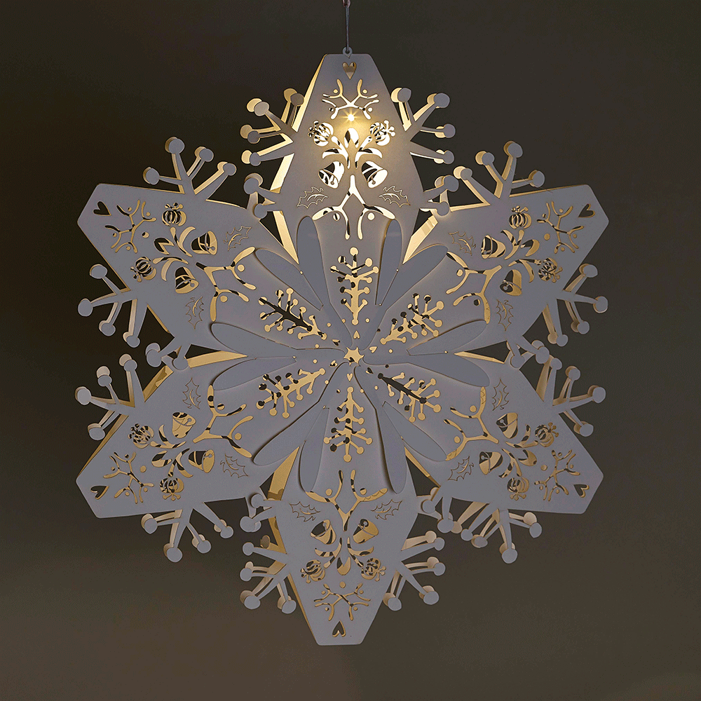Paper tissue snowflake christmas decorations - Large White Hanging Snowflakes