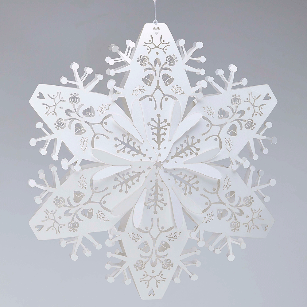 Paper tissue snowflake christmas decorations - 3d White Lasercut Snowflakes