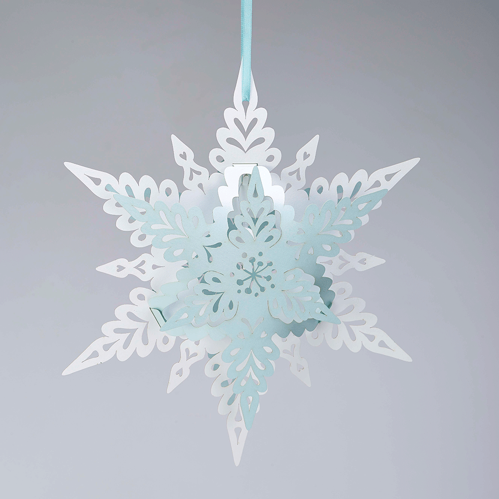 Paper tissue snowflake christmas decorations - Deco Snowflake White And Baby Blue