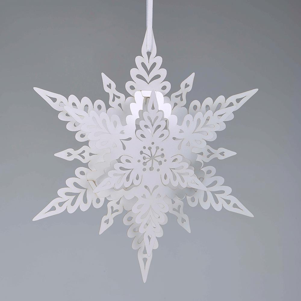 White Christmas Snowflake Lantern In Deco Range
