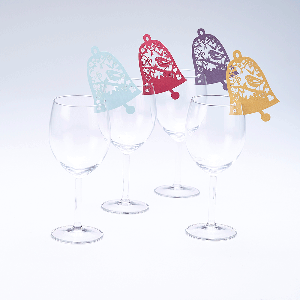 Bell wine glass decorations for your christmas and winter for Wine glass decorations for weddings