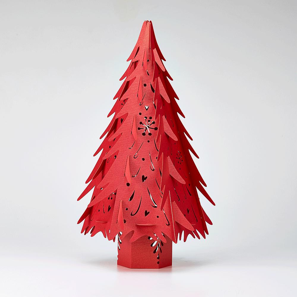 Illuminated Red Paper Christmas Tree Lanterns