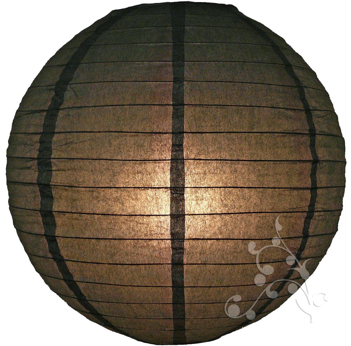 12 inch black round paper lantern - White hanging paper lanterns ...
