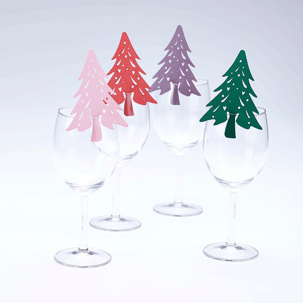 Christmas Tree Wine Glass Decorations