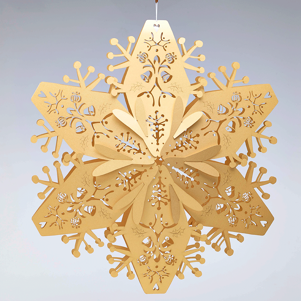 Laser Cut Stardream Gold Large 3d Snowflakes