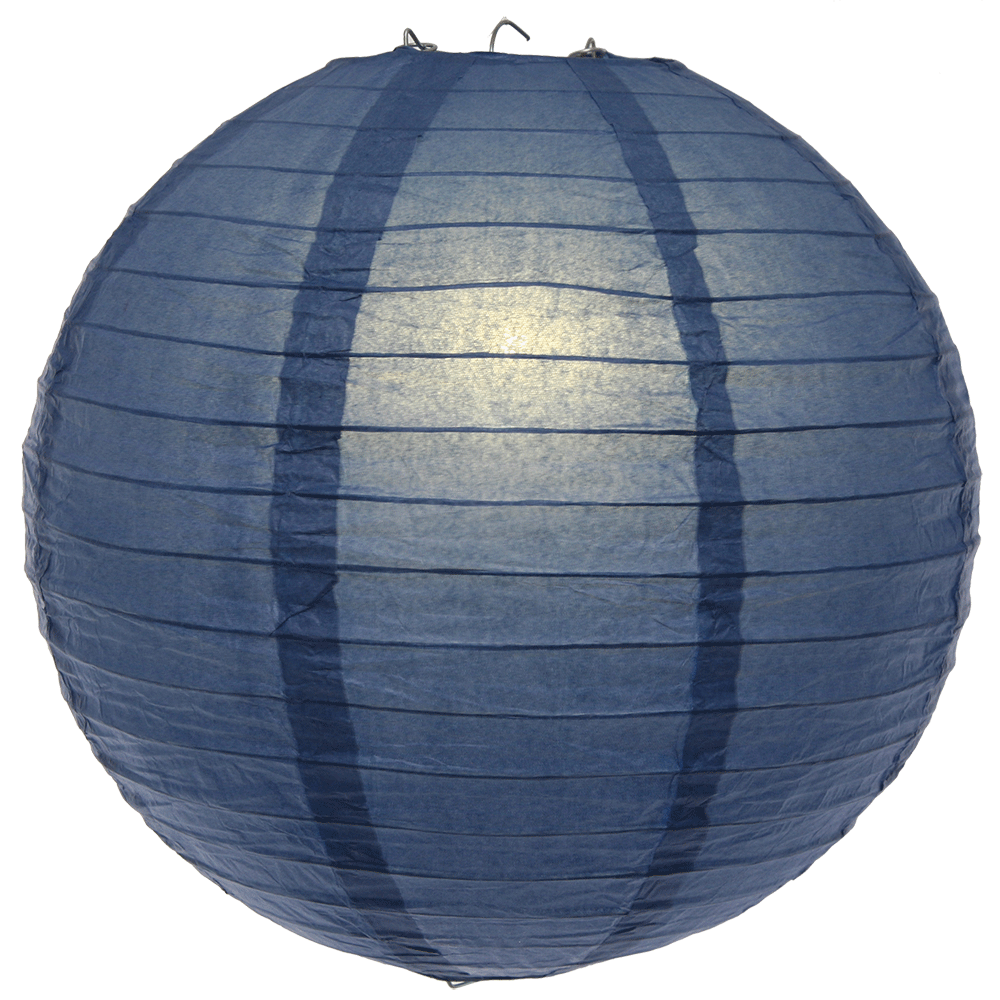 8 Inch Small Navy Blue Even Ribbed Round Lanterns