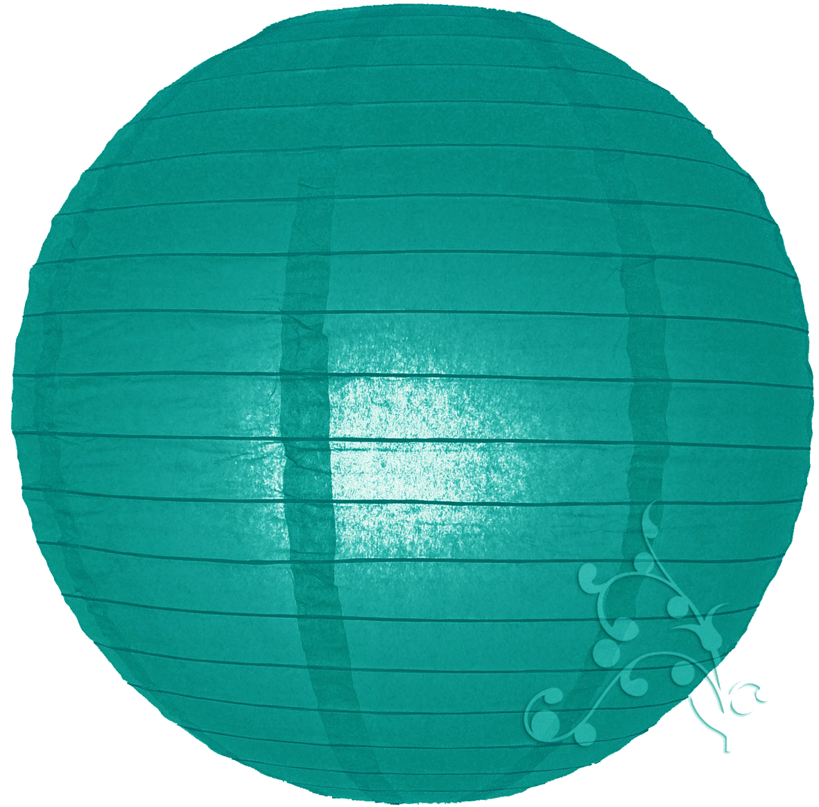 18 Inch Even Ribbed Teal Chinese Lantern