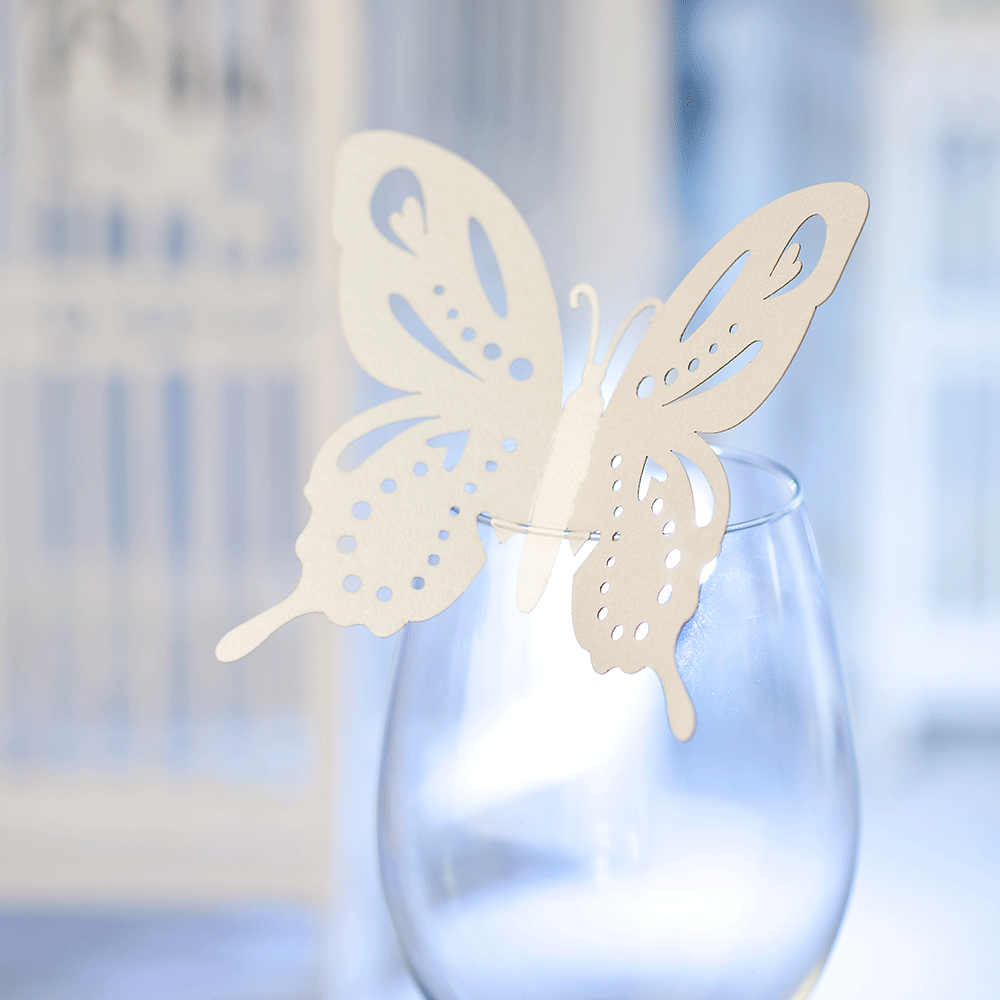 Glass Decorations: Wedding Butterfly Wine Glass Decorations