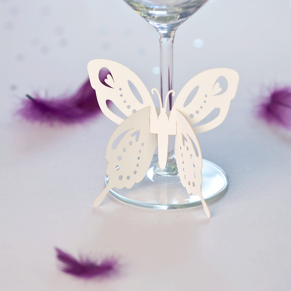 Glass decorations - Flutterby Wine Glass Stem Decorations White