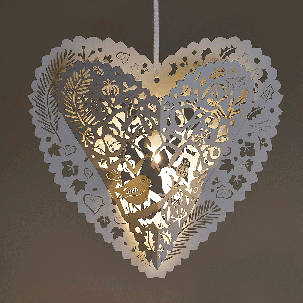 White Christmas heart lanterns lasercut in Sussex