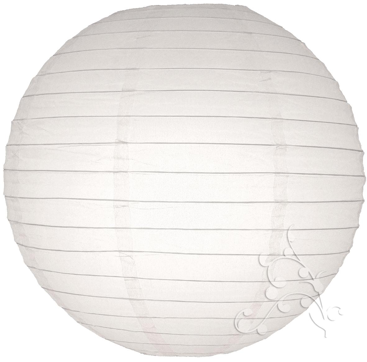 30 inch large white even ribbed round lanterns. Black Bedroom Furniture Sets. Home Design Ideas