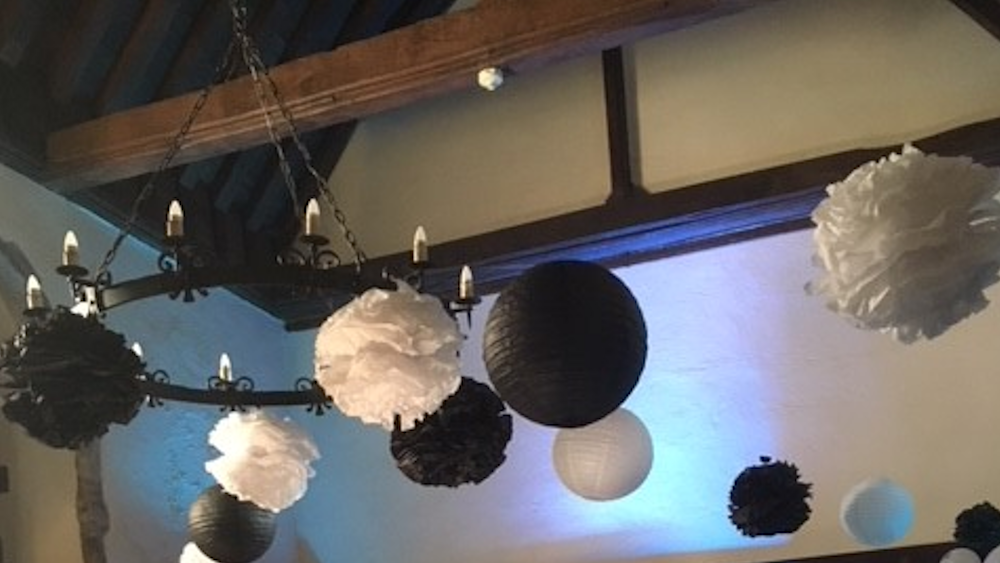 Black and white Lanterns at Lympne Castle in Kent