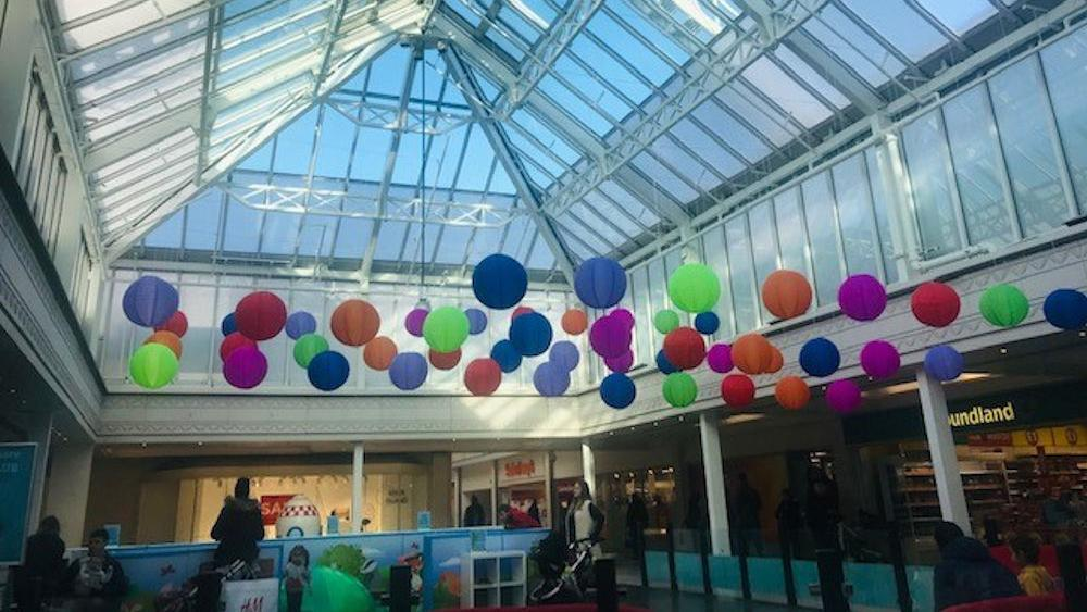 Vibrant Lanterns at The Square Shopping Centre in Camberley