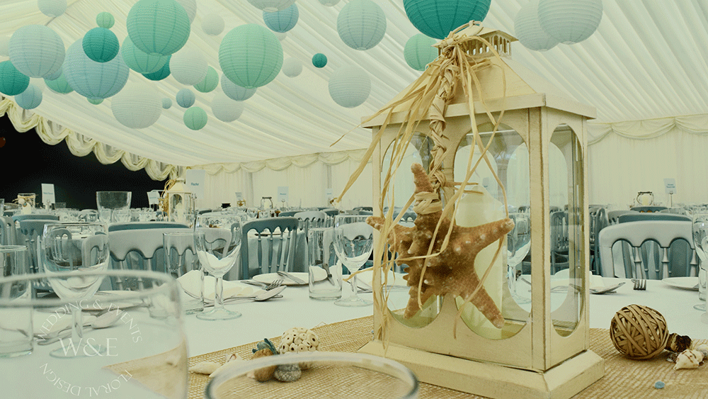 aqua coloured lanterns for a beach themed party hanging
