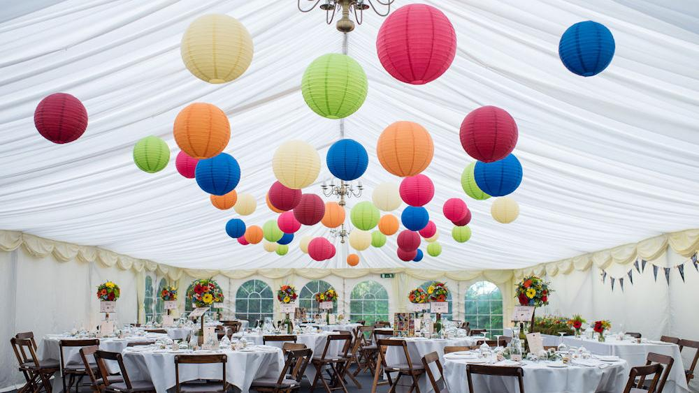 Coloured hanging lanterns at The English Wine Centre