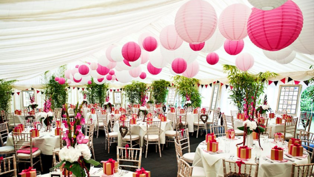 Clusters%20of%20pink%20marquee%20lanterns Christmas Decorations Company