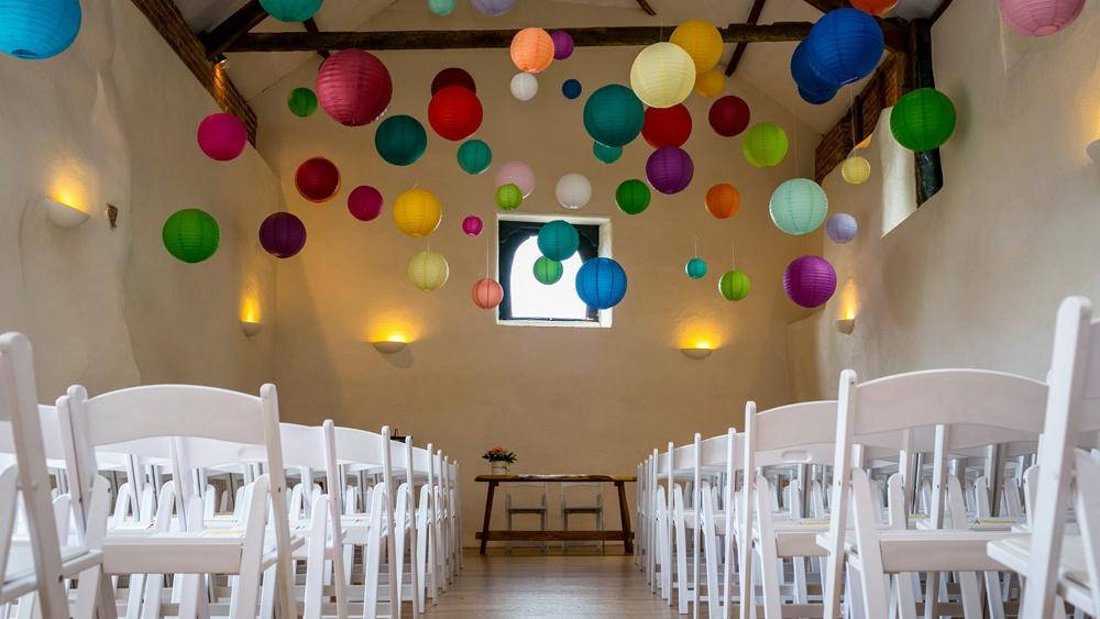 bright wedding paper lantern canopy