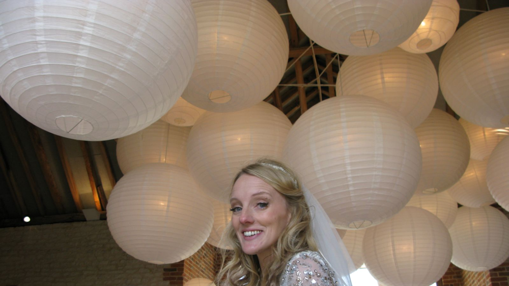 Cream and Ivory Paper Hanging Lanterns