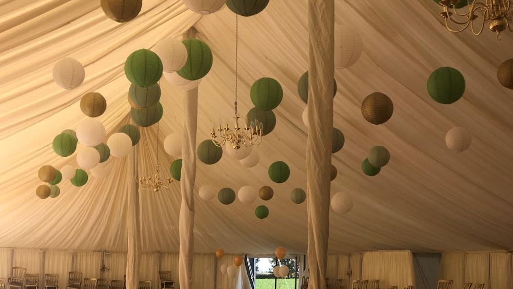 Green and Gold Sparkling Lanterns