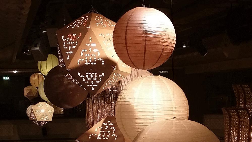 Bespoke laser cut lanterns created for Grosvenor House Hotel London