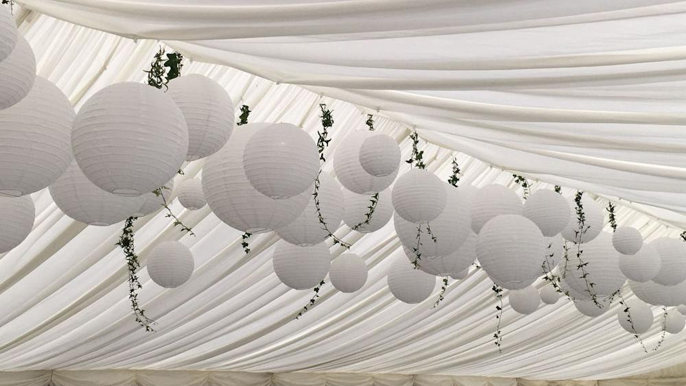 White Paper Lanterns at a Pure White Wedding