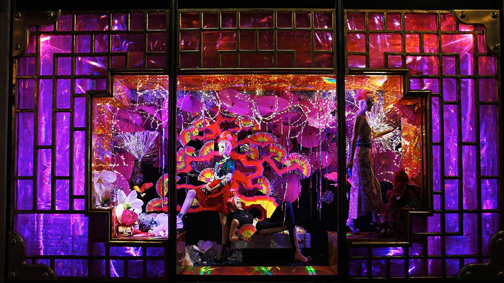 Harvey Nichols Christmas Window Displays Hanging Lantern