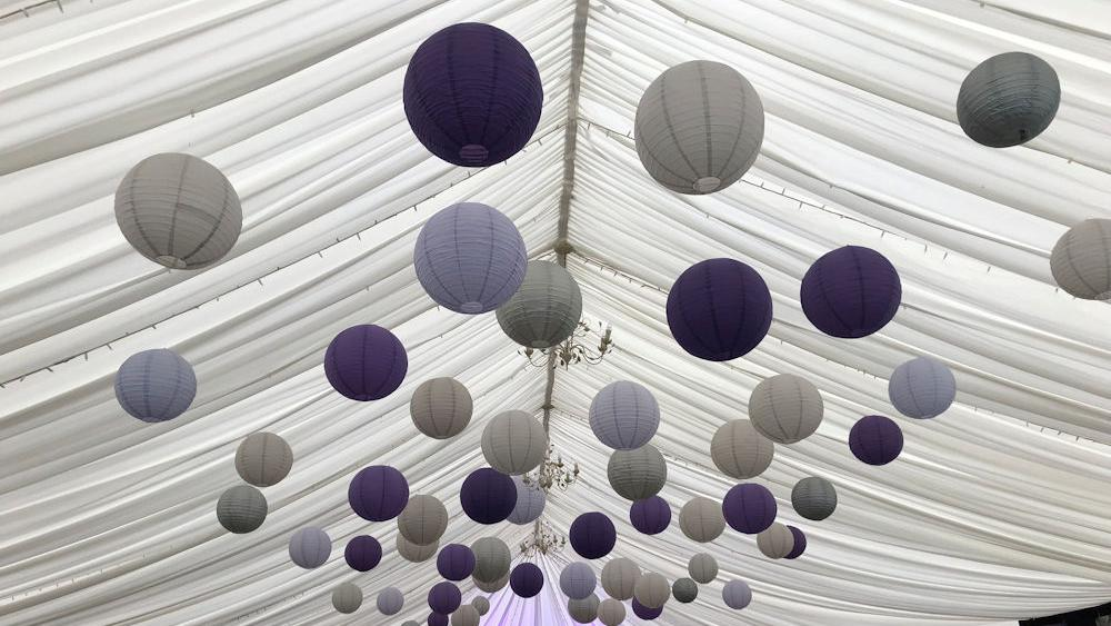 Purple and Silver Lanterns at Kingston Bagpuize House