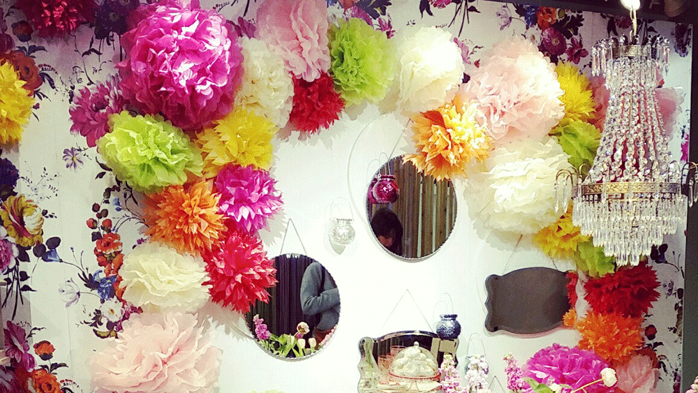 Tissue Pom Poms brighten Marks & Spencer's Press Show