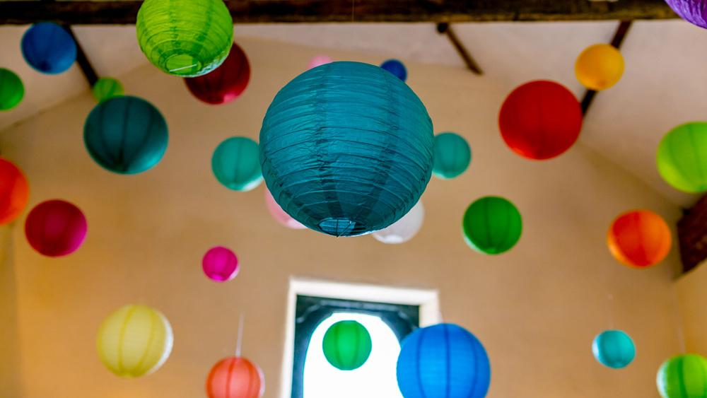 Dan & Rhi's lantern canopy - Real Wedding