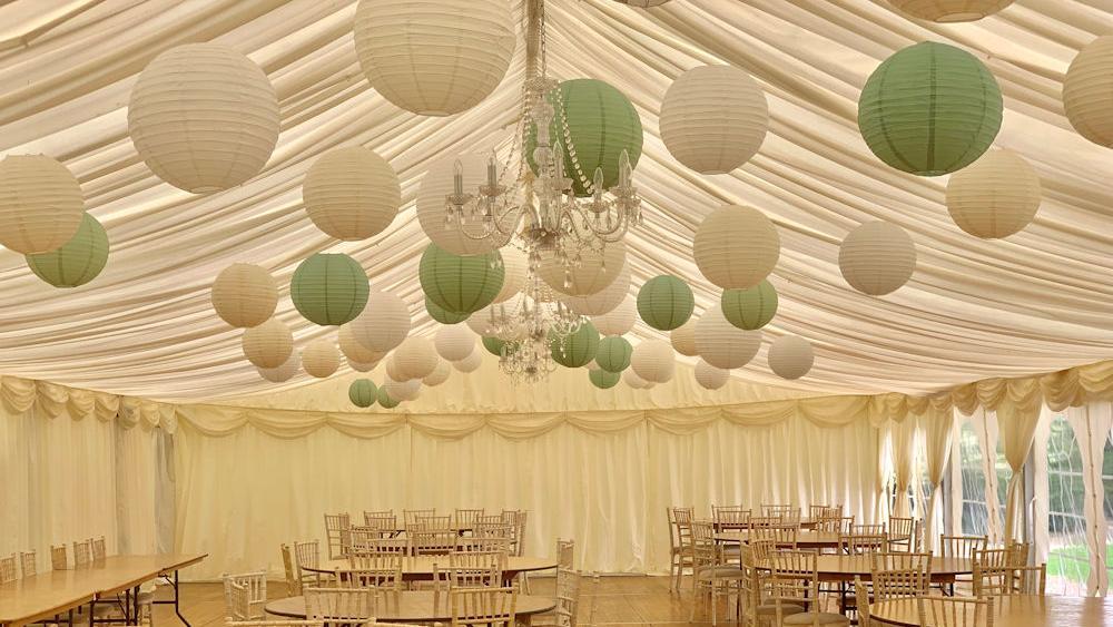 Paper Lanterns decorate Nettlestead Place Wedding