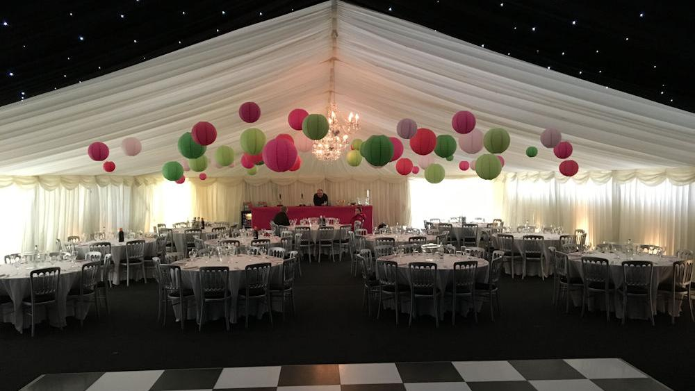 Paper Lanterns Decorate 21st Birthday Marquee