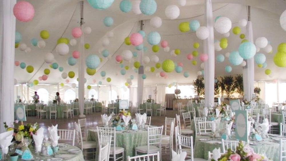 Mix pastel and vibrant round lanterns