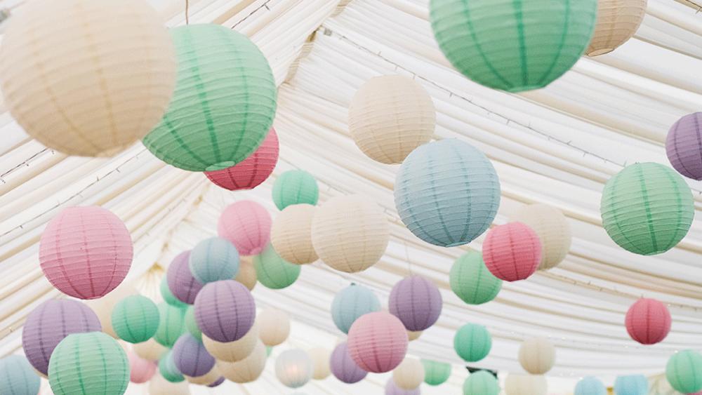 Pastel Paper Lanterns Create A Festival Themed Wedding