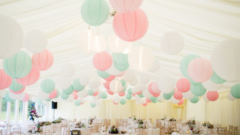 Pastel pink and mint green wedding lanterns | Hanging Lantern Company