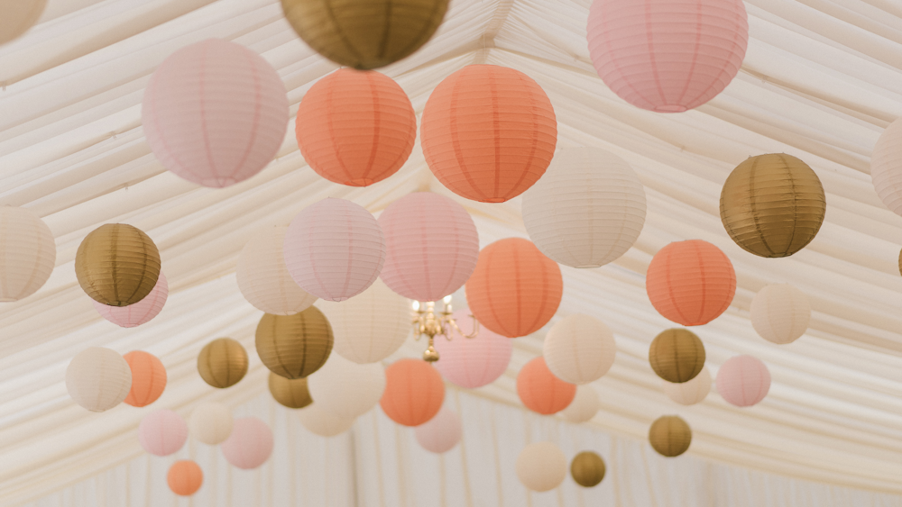 Lantern installation at Squerryes Court Marquee