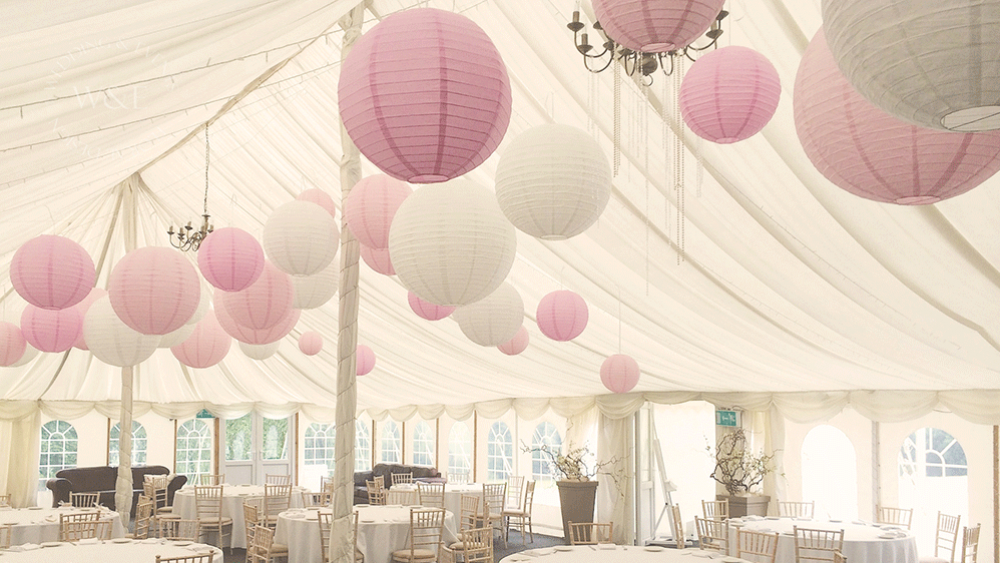 White And Pink Marquee Lanterns Add A Feminine Touch To A