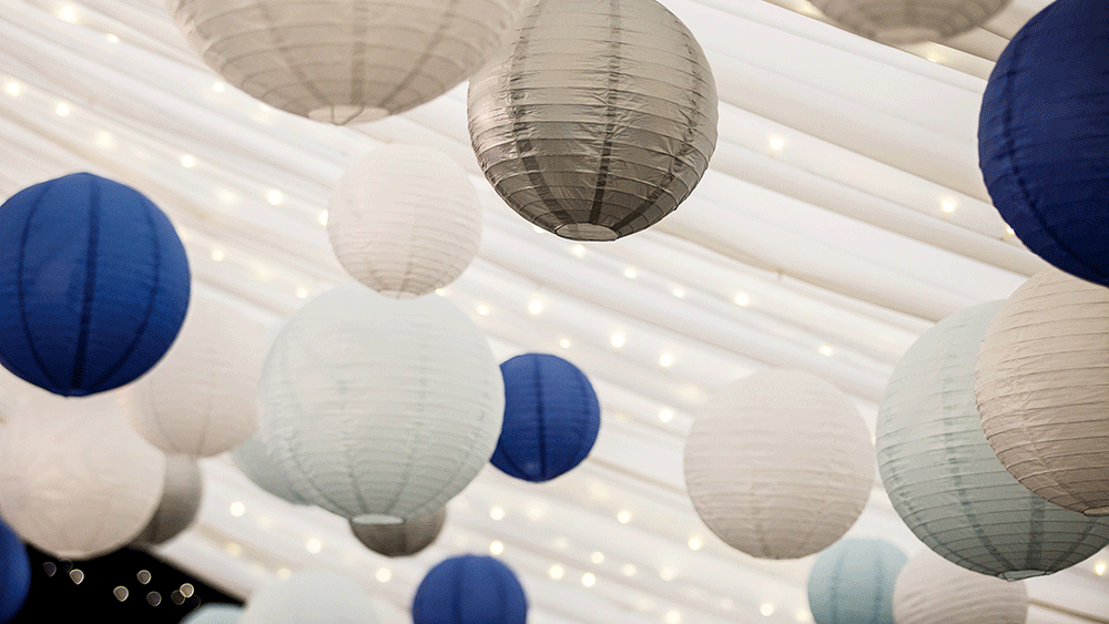 A Winter Wonderland created by Paper Hanging Lanterns