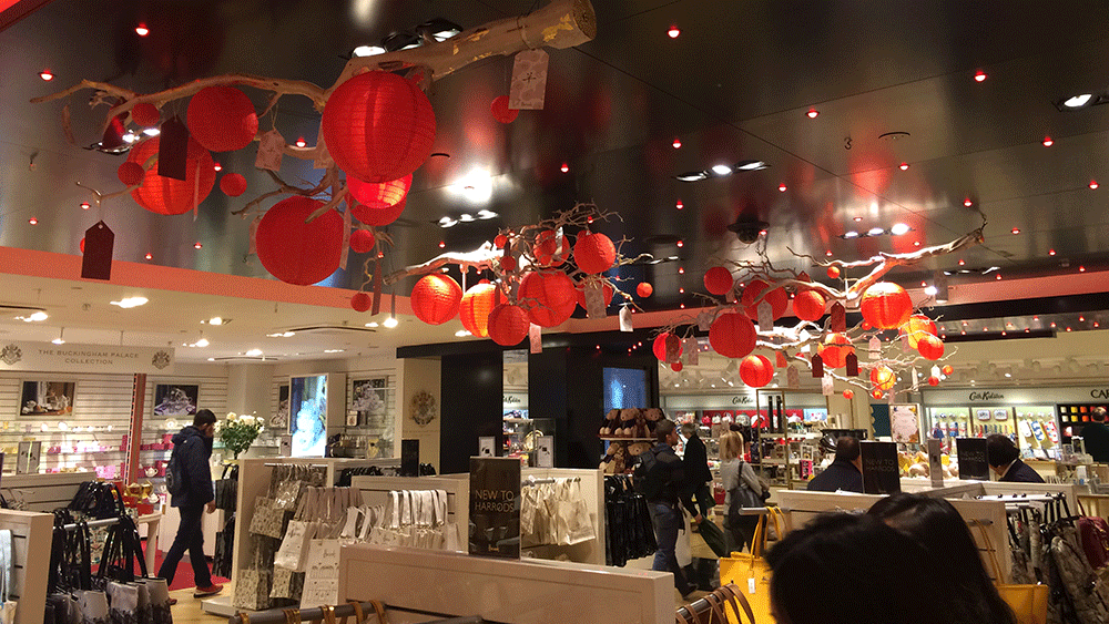Our Traditional Red Chinese Lanterns in Harrods London