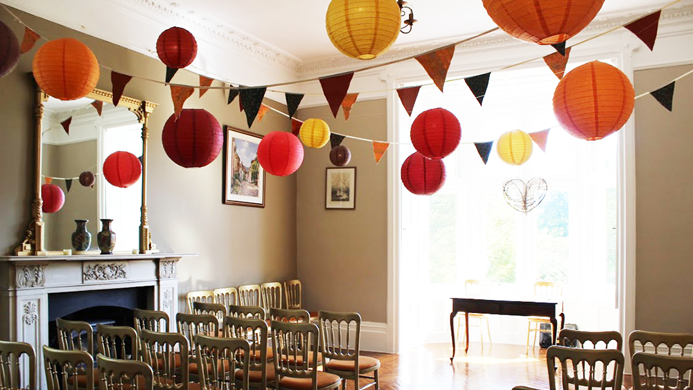 Autumnal Coloured Lanterns Bring Warmth to Northcote Manor
