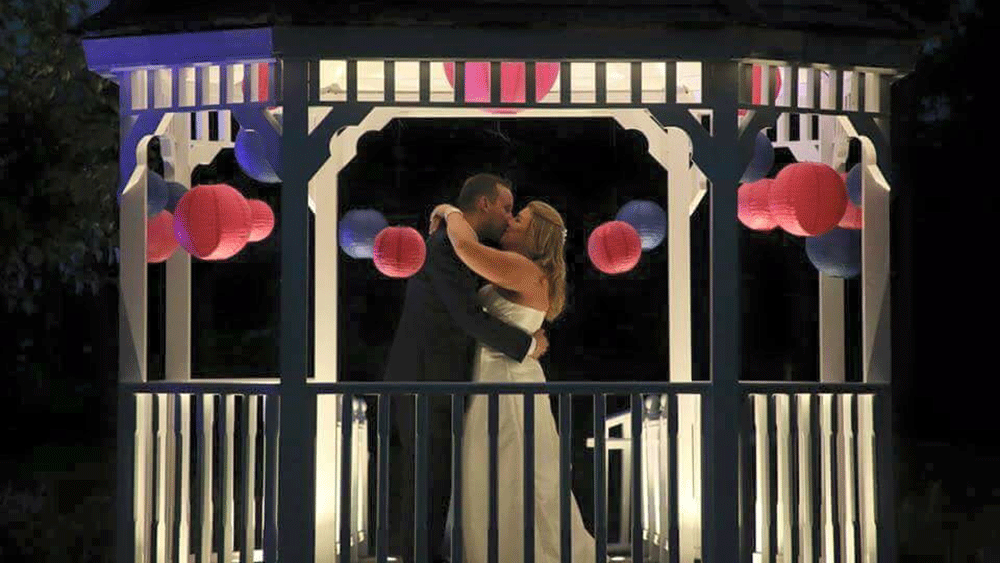 Coloured Lanterns Brighten Lakeside Wedding