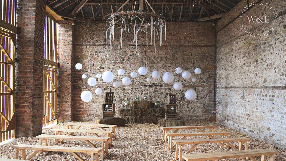 White Hanging Lanterns add Style to a Rustic Barn Wedding