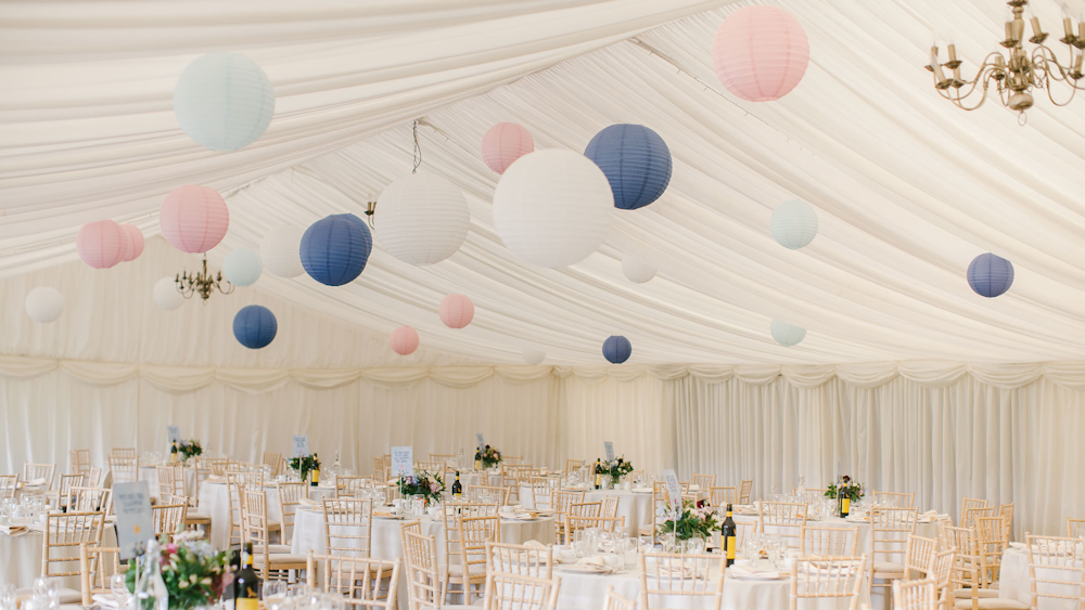 Pink and blue lanterns at Wethele Manor