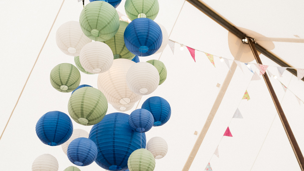 Cluster of Green and Blue Wedding Lanterns