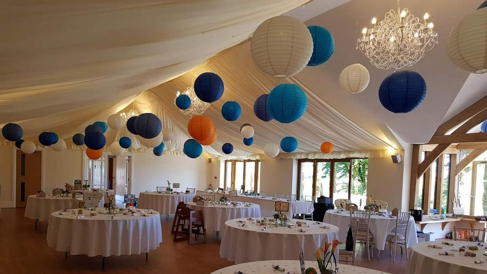 Striking Blue and Orange Wedding Lanterns