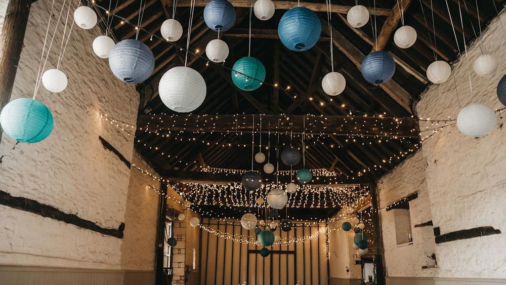 Blue Hanging Lanterns at Friars Court
