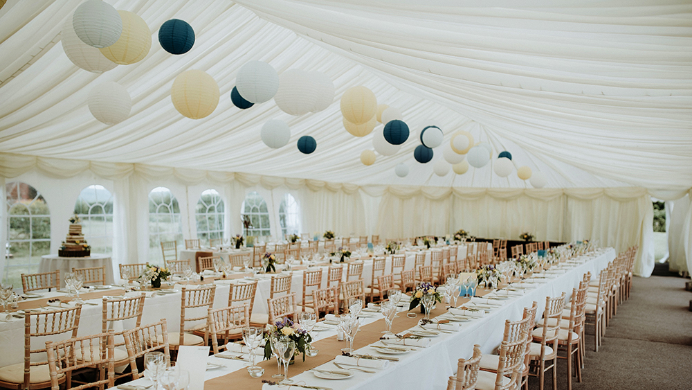 Blue and Yellow Marquee Wedding Lanterns