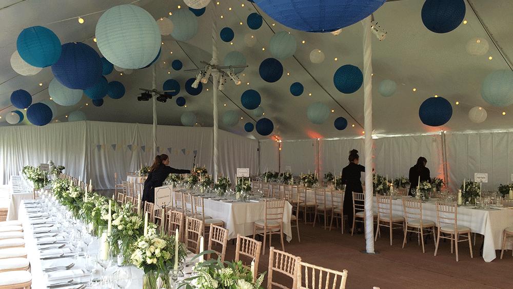 Blue Paper Lanterns On Festoon Lights Hanging Lantern Company