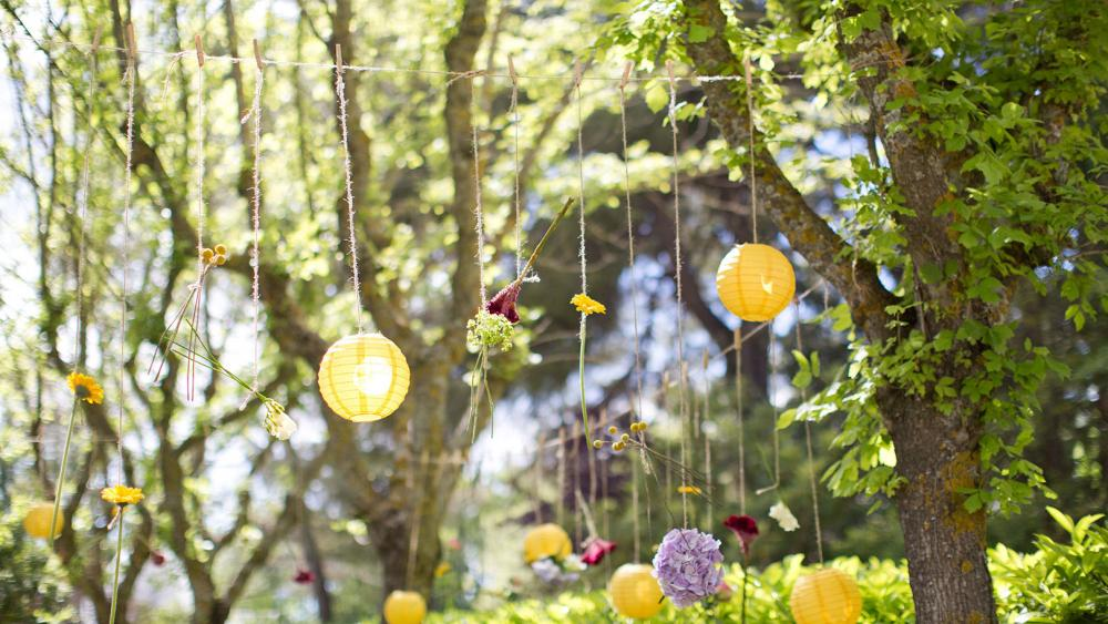 Outdoor Wedding Lanterns on a Beautiful Summers Day