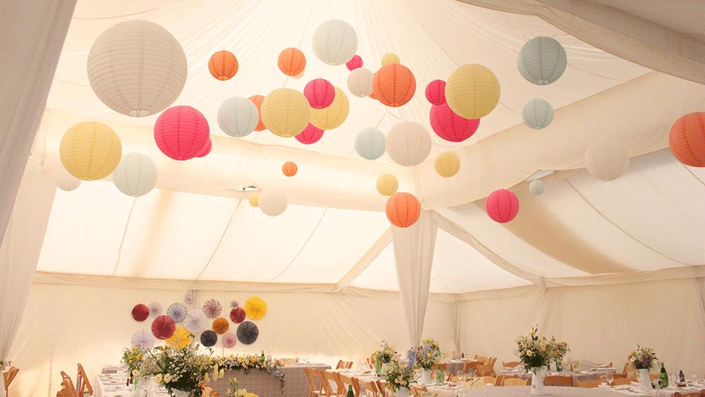 Unique twist on pastel paper lanterns